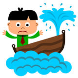 Sinking business. A humorous illustration of a business man riding on a sinking boat royalty free illustration