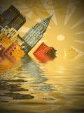 Sinking city. Illustration of New York sinking into water royalty free illustration