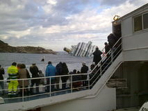 Sinking cruise ship Costa Concordia Royalty Free Stock Images