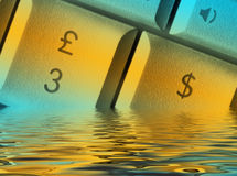 Sinking currency Stock Photography