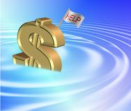 Sinking dollar. A golden dollar symbol sinking and a flag attached to it spelling help vector illustration