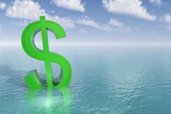 Sinking Dollar Sign. Bright green dollar sign begins to sink into the water. Calm blue aqua sea or ocean with pretty blue sky and puffy clouds. Business metaphor royalty free illustration