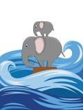 Sinking elephants Royalty Free Stock Images