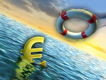 Sinking euro Stock Photos