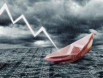 Sinking euro ship Royalty Free Stock Photo