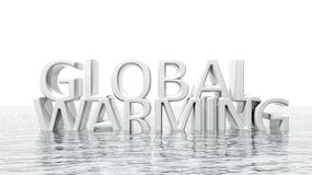 Sinking Global Warming 3D text Stock Photos