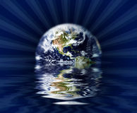 Sinking Globe. Earth globe sinking in water royalty free illustration