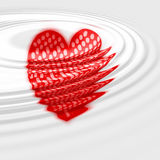 Sinking heart. Graphic with ripples. White background Stock Photo