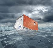 Sinking house Royalty Free Stock Photos