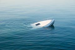 Sinking modern large white boat goes underwater stock image