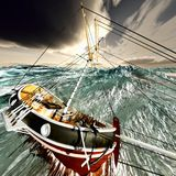 Sinking pirate brigantine. On stormy seas royalty free stock photography