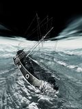 Sinking pirate brigantine Stock Image