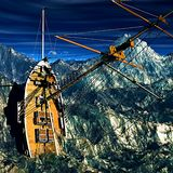 Sinking pirate brigantine. On stormy seas stock image