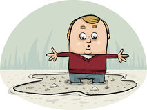 Sinking in Quicksand. A cartoon man sinking in a puddle of quicksand vector illustration