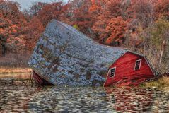 The Sinking Red Barn was located near the Twin Cities in Minneso. Ta before it collapsed in 2017 Royalty Free Stock Photography