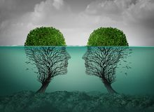 Sinking Relationship Concept. Sinking relationship and dying love concept as a couples therapy or marriage divorce and separation psychology concept with 3D vector illustration
