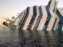 Sinking ship Costa Concordia stock image