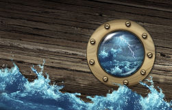 Sinking Ship. Crisis concept with a boat in dangerous thunder storm sea challenged by a risky environment as a metaphor for depression and distress in business royalty free illustration