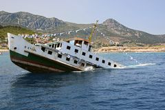Sinking ship for diving tourism stock photography