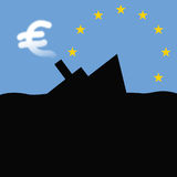 Sinking-ship-of-euro. A silhouette of a sinking ship. Euro shaped smoke curls from its chimney Stock Photography