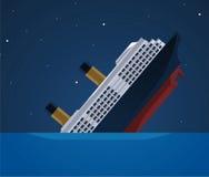 Sinking ship illustration. Sinking cruise ship at night illustration vector illustration