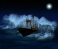 Sinking Ship at night. Sinking ship being hit by massive wave at night Royalty Free Stock Photos