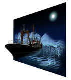 Sinking Ship at night in 3D. Sinking ship being hit by massive wave at night in 3D royalty free illustration