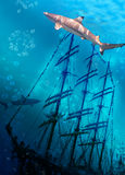 Sinking ship on sea bottom  and sharks. Landscape Stock Photography