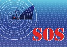 Sinking ship and a signal sos Royalty Free Stock Photo