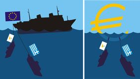 Sinking eurozone - cypriot and greek crisis Royalty Free Stock Photos