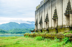 Sinking temple at Sangkhlaburi Royalty Free Stock Photos