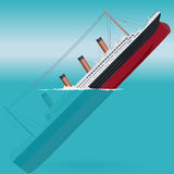 Sinking Titanic – legendary colossal boat. Sinking Titanic – legendary colossal boat – monumental big ship – symbol icon flatten isolated Royalty Free Stock Photography