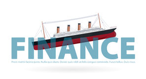Sinking Titanic in finance - metaphor joke, paraphrase quip, symbol of bad financial situation. Stock Photo