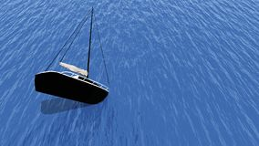 Sinking yacht. In the sea 3d illustration Royalty Free Stock Photo