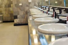 Sinks. Closed up sinks in the bathroom Stock Photo