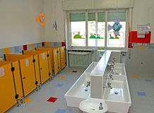 Sinks for cleaning of infants within a nursery Stock Images