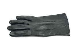 Sinlge black leather glove isolated. Over the white background Stock Photography