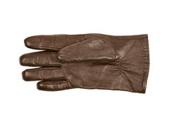 Sinlge brown leather glove isolated. Over the white background Stock Images