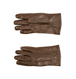 Sinlge brown leather glove isolated. Over the white background, set of two different foreshortenings Royalty Free Stock Photos