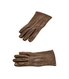 Sinlge brown leather glove isolated. Over the white background, set of two different foreshortenings Royalty Free Stock Photo