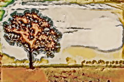 Sinlge trädlandskap Arkivbild