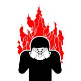 Sinner on fire. OMG. Cover face with hands. Despair. And suffering. Hell fire. Vector illustration Royalty Free Stock Photo