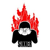 Sinner on fire. OMG. Cover face with hands. Despair and sufferin. G. Hell fire. Vector illustration Royalty Free Stock Photo