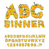 Sinner font. Letters from flames. Skeletons in hell fire. Hellfi Stock Photos