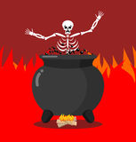 Sinners in cauldron in hell. Skeletons are cooked in resin in un Stock Photography