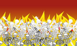 Sinners in fire hell horizontal pattern. dead in  Gehenna. Skele Royalty Free Stock Photography