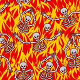 Sinners in fire hell seamless pattern. dead in Gehenna. Skeleton. S screaming for help. Hells torments. Religious background. reckoning for sins Stock Photos