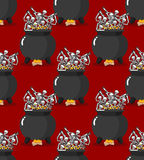 Sinners in pot in Hell seamless pattern. Skeletons are cooked in Royalty Free Stock Photography