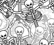 Sinners seamless pattern. Skeleton in Hell background. Ornament Stock Photo