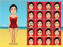 Sinnesrörelse för den baddräktSwimdress tecknade filmen vänder mot vektorillustrationen Arkivfoton